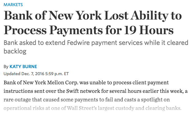 BNY Lost Payments Capability for 19 Hours